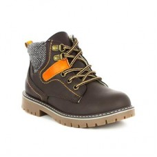 Boys Chatterbox Brown Zip Fasten Lace Detial Boot - Boy Shoes 28322 GPGGMDQ