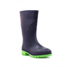Kids Navy and Lime Wellington Boots - Boy Shoes 79113 HXHVCCD