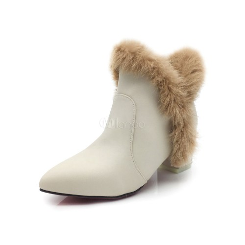 Apricot Winter Boots Women's Pointed Toe Fur Detail Slip On Booties 10690726650 ALSFOVZ Women Boots