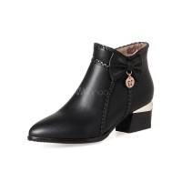 Black Ankle Boots Pointed Toe Women's Bow Zip Up Booties For Women 10690710758 RXSAPDW Women Boots