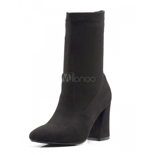 Black Ankle Boots Suede Pointed Toe High Heel Slip On Booties For Women 10690727632 EVLRCAX Women Boots