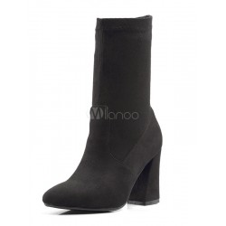Black Ankle Boots Suede Pointed Toe High Heel Slip On Booties For Women 10690727632 QQVVPSL Women Boots