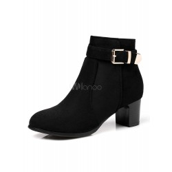 Black Ankle Boots Suede Round Toe Buckle Detail Women Boots 10690739510 OXHUTMX Women Boots