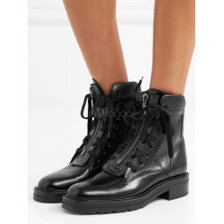Black Ankle Boots Women Boots Leather Round Toe Lace Up Combat Boots 10690737444 ELCIKLW Women Boots