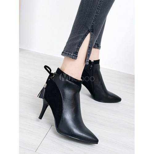 Black Ankle Boots Women Suede Booties Pointed Toe Lace Up High Heel Booties 96070739002 TBRGXUJ Women Boots