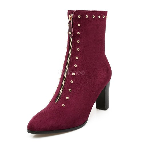 Black Ankle Boots Women Suede Boots Burgundy Round Toe Rivets Metal Detail Booties 10690748930 ENHXENU Women Boots