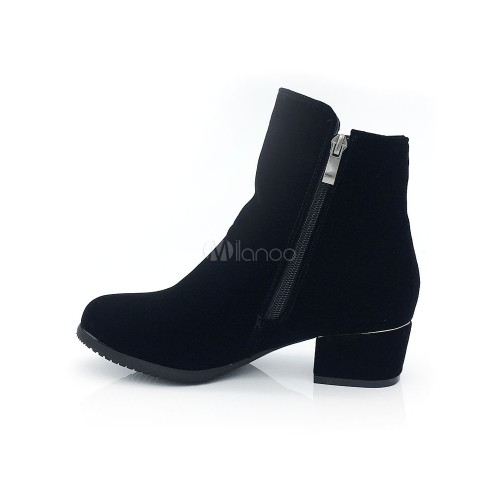 Black Ankle Boots Women Suede Boots Round Toe Metal Detail Booties 10690740434 VHSJHIY Women Boots