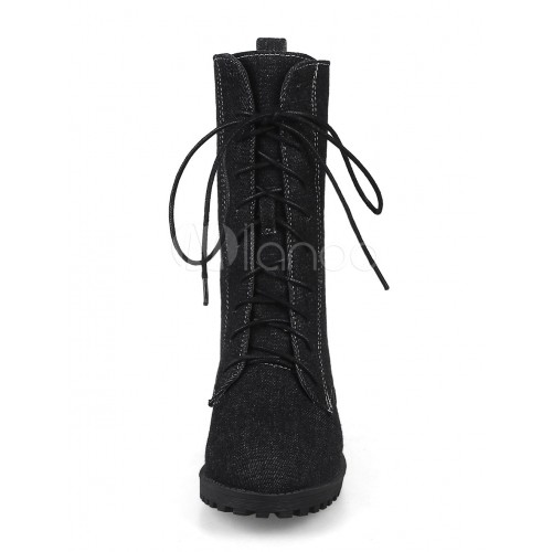 Black Martin Boots Women's Round Toe Lace Up Ankle Boots 10690730554 TCXIGXE Women Boots