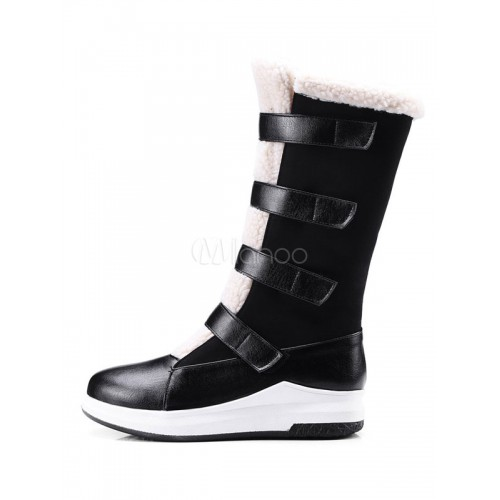 Black Winter Boots Women Mid Calf Boots Round Toe Snow Boots 10700740112 SVPPWIN Women Boots