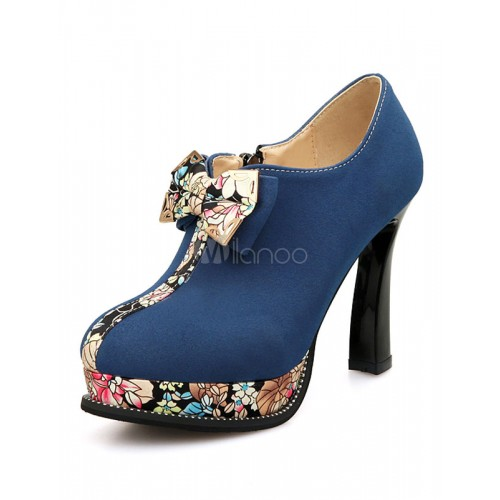 Blue Suede Booties High Heel Platform Bows Printed Ankle Boots For Women 10690626433 KHLTAWS Women Boots