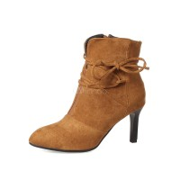 Brown Ankle Boots Pointed Toe Stiletto Heel Suede Women's Booties 10690728584 QRCPEJX Women Boots
