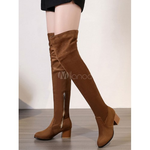 Brown Over Knee Boots Women Suede Boots Round Toe Thigh High Boots 10720741012 NBFYMDL Women Boots