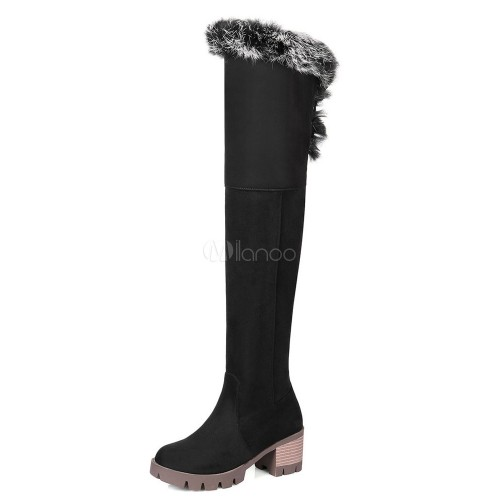 Brown Suede Boots Over Knee Boots Round Toe Fur Detail Thigh High Boots For Women 10720739508 VTJSVYG Women Boots