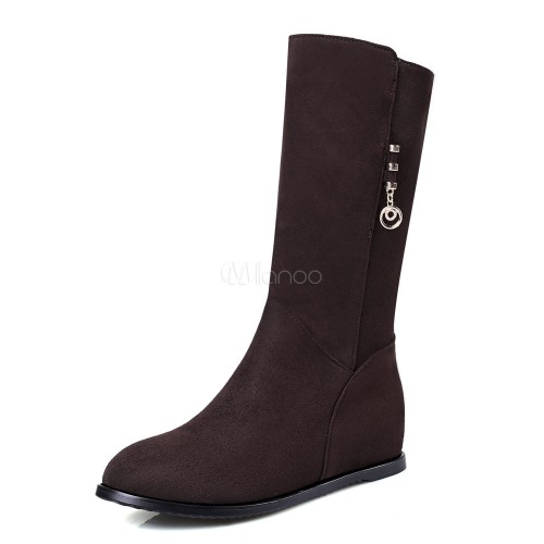 Brown Suede Boots Women Wedge Boots Round Toe Mid Calf Boots 10700752052 KGTLSZE Women Boots