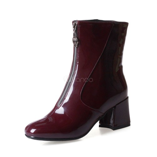 Burgundy Ankle Boots Women Shoes Square Toe Zip Up PU Mid Heel Booties 10690751398 TCEUFQS Women Boots