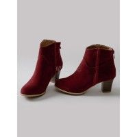 Burgundy Ankle Boots Women Suede Boots Round Toe Zip Up Booties 10690751422 VBUEPEU Women Boots