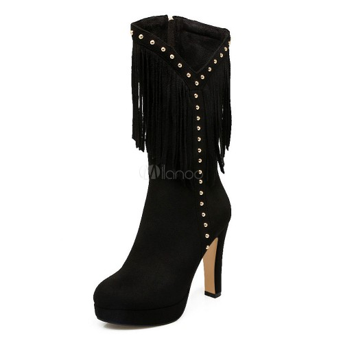 Burgundy Mid Calf Boots Women Suede Shoes Round Toe Beaded High Heel Boots With Tassels 10700754108 SRRMYJY Women Boots