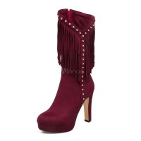 Burgundy Mid Calf Boots Women Suede Shoes Round Toe Beaded High Heel Boots With Tassels 10700754108 KGYVRYY Women Boots