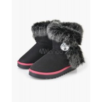 Fur Snow Boots with Bottons 10740494953 IPTHROD Women Boots