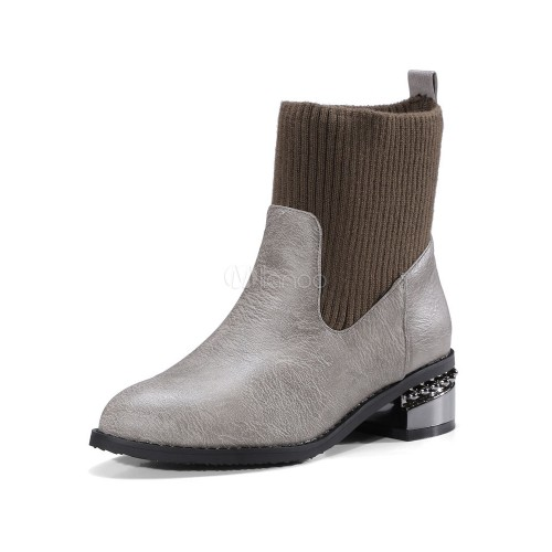Grey Ankle Boots Women Shoes Round Toe Slip On Booties 10690751228 EZZWGXN Women Boots