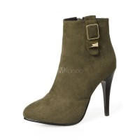 High Heel Booties Women Ankle Boots Suede Hunter Green Pointed Toe Booties 10690751402 IXQBSND Women Boots