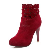High Heel Booties Women Suede Boots Round Toe Cut Out Ankle Boots 10690745520 VMICDDX Women Boots