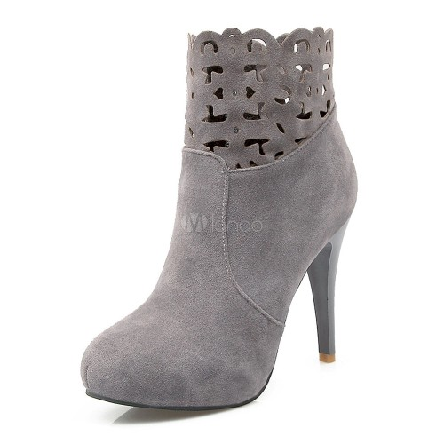 High Heel Booties Women Suede Boots Round Toe Cut Out Ankle Boots 10690745520 YSTXDTM Women Boots
