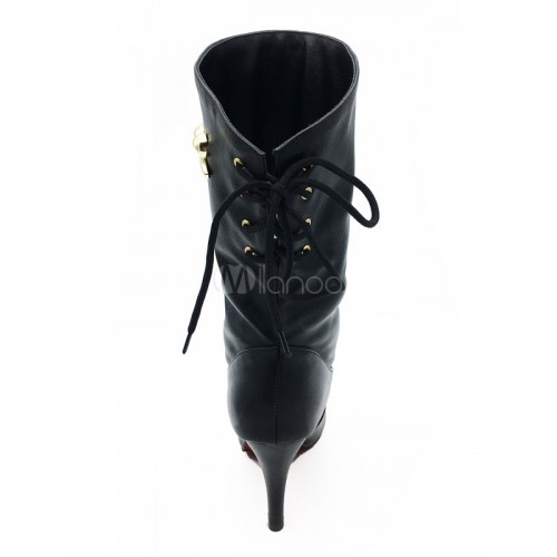 High Heel Boots Black Stiletto Lace Up Pointed Toe Bows PU Women's Mid Calf Boots 10700726642 VRUJBVV Women Boots