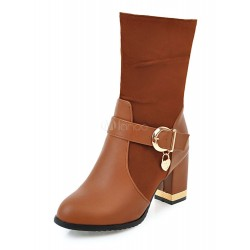 High Heel Boots Suede Brown Pointed Toe Buckle Detail Women's Boots 10700710732 RABUALS Women Boots