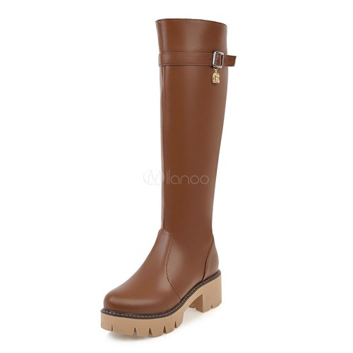 Knee High Boots PU Upper Round Toe Chunky Heel Zipper Buckle Boots For Women Brown 10710747036 IMBNAOV Women Boots