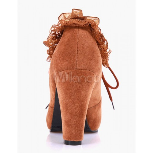 Lace Round Toe Chunky Heel Casual Ankle Booties 10690547013 CVJSQUQ Women Boots