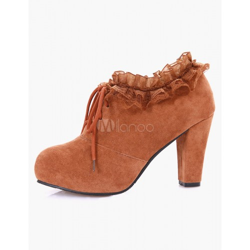 Lace Round Toe Chunky Heel Casual Ankle Booties 10690547013 MLFGDRN Women Boots
