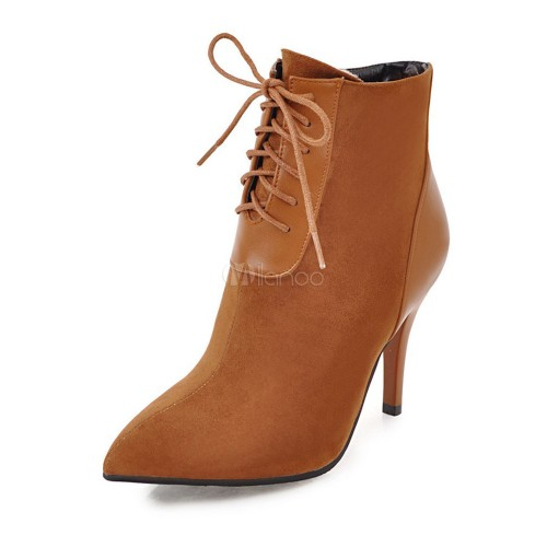 Lace Up Booties Women Ankle Boots Red Pointed Toe High Heel Booties 10690739570 LGBNZIP Women Boots