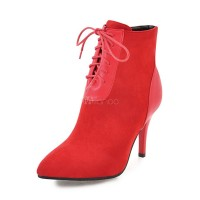 Lace Up Booties Women Ankle Boots Red Pointed Toe High Heel Booties 10690739570 MQPQIWI Women Boots