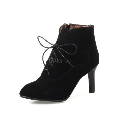 Lace Up Booties Women Suede Boots Grey Pointed Toe Kitten Heel Ankle Boots 10690751234 BLBFWSX Women Boots