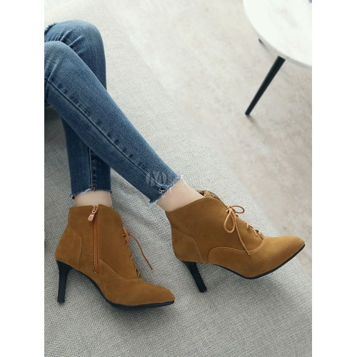 Lace Up Booties Women Suede Boots Grey Pointed Toe Kitten Heel Ankle Boots 10690751234 XTDFPWW Women Boots