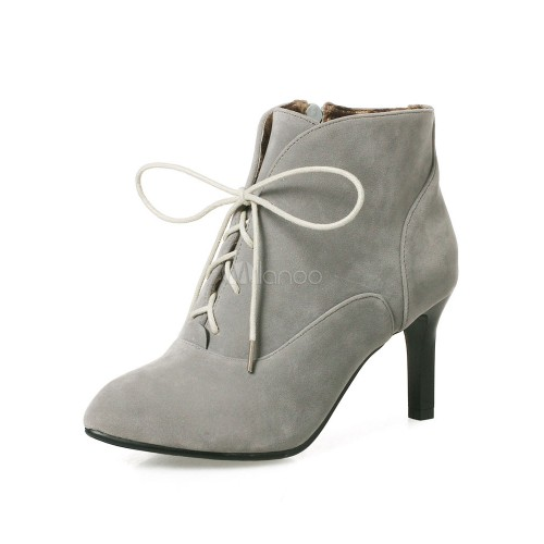 Lace Up Booties Women Suede Boots Grey Pointed Toe Kitten Heel Ankle Boots 10690751234 BBIPYXW Women Boots