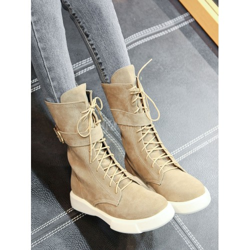 Lace Up Boots Women Suede Boots Round Toe Buckle Detail Flat Boots 10690745942 BJTEADQ Women Boots