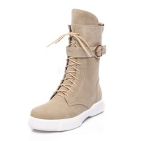 Lace Up Boots Women Suede Boots Round Toe Buckle Detail Flat Boots 10690745942 JZGHGCQ Women Boots