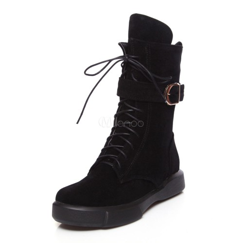 Lace Up Boots Women Suede Boots Round Toe Buckle Detail Flat Boots 10690745942 YHILBLE Women Boots