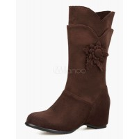 Micro Suede Upper Half Boots With Flower 10700541335 IKYUCSV Women Boots