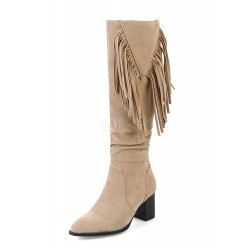 Mid Calf Boots Ecru White Pointed Toe Chunky Heel Fringe Suede Winter Boots For Women 10710730916 WZYXPEY Women Boots