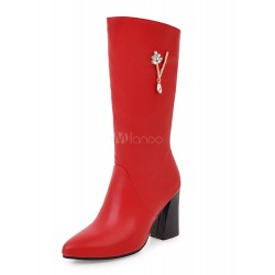 Mid Calf Boots Pointed Toe Chunky Heel Winter Boots For Women 10700729198 HLIIABZ Women Boots