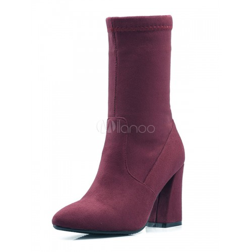 Pointed Toe Boots Suede Chunky Heel Women's Winter Mid Calf Boots 10700710222 VNBQQMO Women Boots