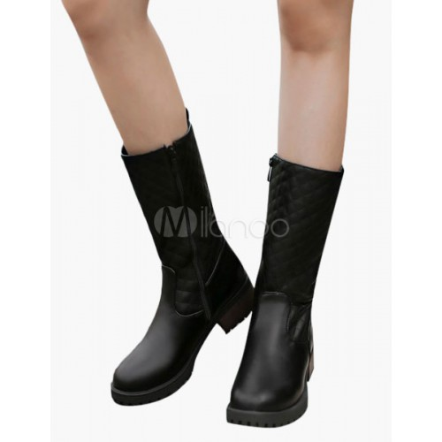 Quilted Zipper Round Toe Mid Calf Boots 10700498445 FIETDMB Women Boots