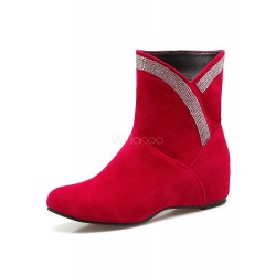Red Ankle Boots Suede Leather Round Toe Rhinestones Beaded Slip On Winter Boots 10690709410 IXQCSQH Women Boots