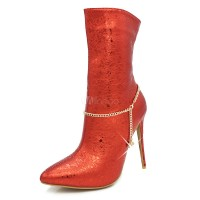 Red Ankle Boots Women High Heel Booties Pointed Toe Chain Detail Booties 10690741016 MHBVYLZ Women Boots