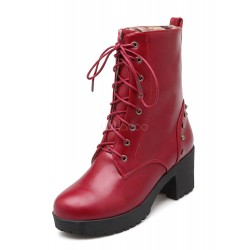 Red Ankle Boots Women Lace Up Booties Round Toe Metal Detail Winter Boots 10690744280 PAROHSR Women Boots