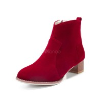 Red Ankle Boots Women Suede Booties Round Toe Zip Up Winter Boots 10690745220 DZMGRLN Women Boots