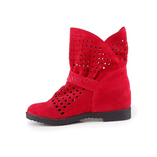 Red Ankle Boots Women Suede Shoes Round Toe Cut Out Bow Slip On Booties 10690748754 FJBPJRC Women Boots